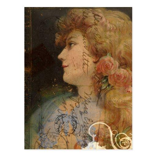 Pretty Lady Vintage Digital Collage Postcard