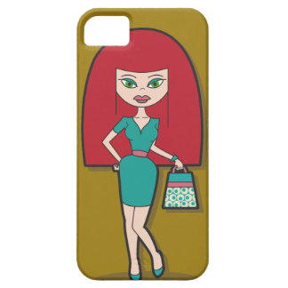 Pretty lady with handbag iPhone 5 covers
