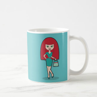 Pretty Lady with handbag on blue background Coffee Mug