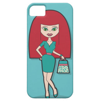 Pretty Lady with handbag on blue background iPhone 5 Cover