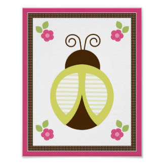 Pretty Ladybug and Flowers Nursery Art Poster