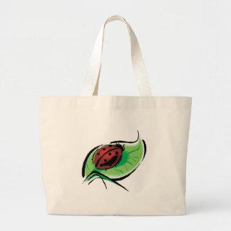 pretty ladybug on leaf jumbo tote bag