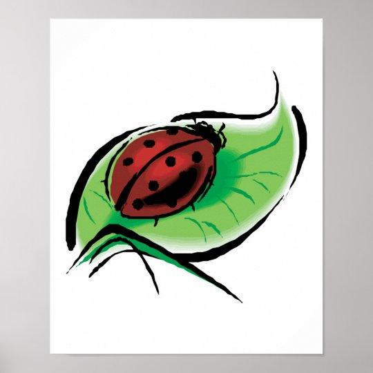 pretty ladybug on leaf poster