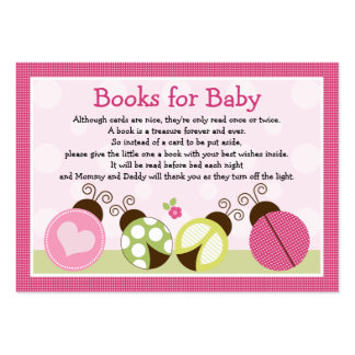 """""""Pretty Ladybug with dots"""" Book Request Inserts Large Business Cards (Pack Of 100)"""
