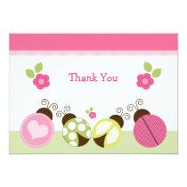 Pretty Ladybugs & Flowers Thank You Card