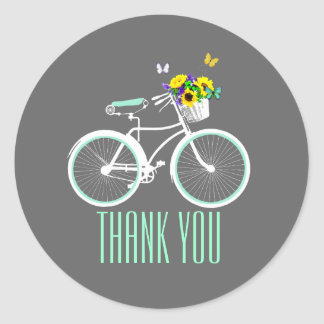 Pretty Lady's Bicycle Bridal Shower Sticker