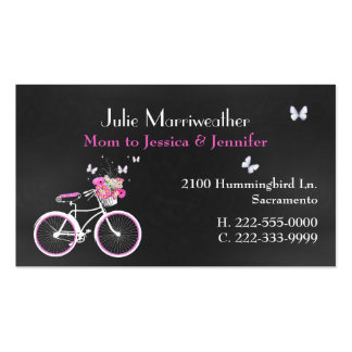 Pretty Lady's Bicycle Custom Mommy Card Business Cards