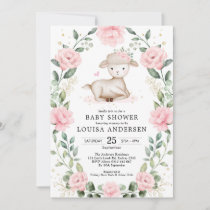 Pretty Lamb Pink Floral Wreath Girl Baby Shower Invitation