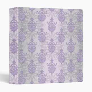 Pretty Lavender and Silvery White Damask 3 Ring Binder