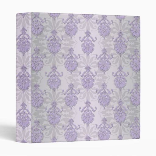Pretty Lavender and Silvery White Damask 3 Ring Binders