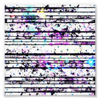 Pretty Lavender Blue Triangle Black White Stripe Photo Print