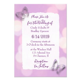 Pretty Lavender Butterflies Wedding Invitation