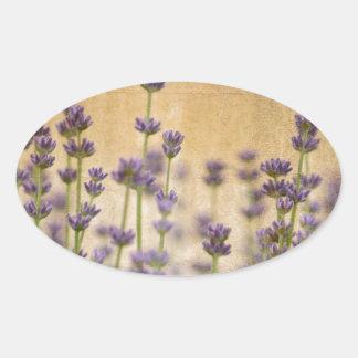 Pretty Lavender Flowers Oval Sticker