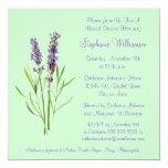 Pretty Lavender Herb Sprig on Green Bridal Shower 5.25x5.25 Square Paper Invitation Card