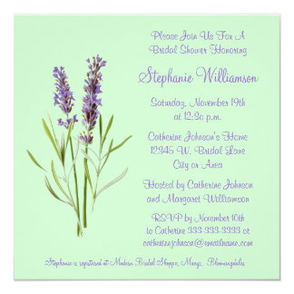Pretty Lavender Herb Sprig on Green Bridal Shower 5.25x5.25 Square Paper Invitation Card