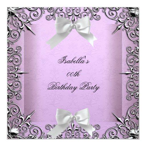 Pretty Lavender Lilac Silver White Birthday Party 5.25x5.25 Square Paper Invitation Card