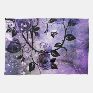 Pretty Lavender Purple Fantasy Rose Vine Floral Towels