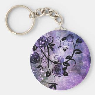 Pretty Lavender Purple Grunge Rose Vine Design Keychain