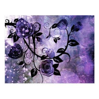 Pretty Lavender Purple Grunge Rose Vine Design Postcard