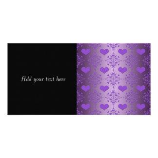 Pretty Lavender Purple Hearts Damask Card