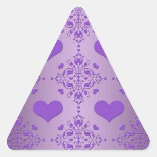 Pretty Lavender Purple Hearts Damask Triangle Sticker