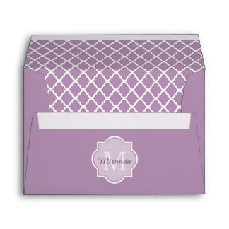 Pretty Lavender Purple Quatrefoil Monogrammed Name Envelope