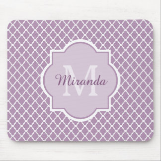 Pretty Lavender Purple Quatrefoil Monogrammed Name Mouse Pad
