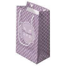 Pretty Lavender Purple Quatrefoil Monogrammed Name Small Gift Bag