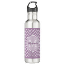 Pretty Lavender Purple Quatrefoil Monogrammed Name Stainless Steel Water Bottle