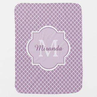 Pretty Lavender Purple Quatrefoil Monogrammed Name Swaddle Blanket