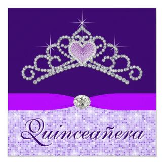 Pretty Lavender Purple Quincenera Card