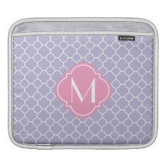 Pretty Lavender Quatrefoil Pattern Sleeve For iPads at Zazzle