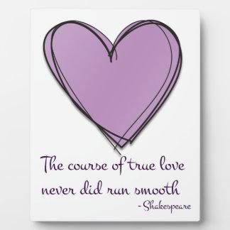 Pretty Lavender The Course of True Love Plaque