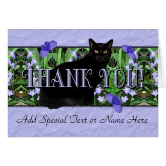 Pretty Lavender Wildflowers and Black Cat Thank Yo Greeting Cards