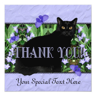 """Pretty Lavender Wildflowers and Cat Thank You Card 5.25"""" Square Invitation Card"""