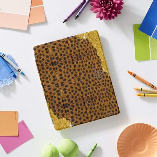Pretty Leather Cheetah Animal Print With Glitter iPad Smart Cover