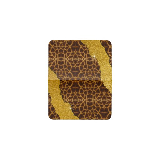 Pretty Leather Giraffe Animal Print With Glitter Card Holder