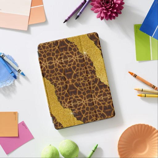 Pretty Leather Giraffe Animal Print With Glitter iPad Air Cover