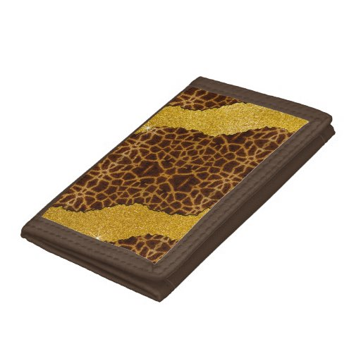 Pretty Leather Giraffe Animal Print With Glitter Trifold Wallet