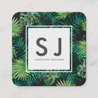 Pretty Leaves Flower Botanical Landscape Designer Square Business Card