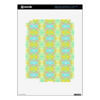 Pretty Lemon Lime Blue Pastel Tribal Pattern Skin For iPad 3