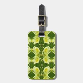 Pretty Lemon Yellow Daisy Flower Green Cute Nature Tag For Bags