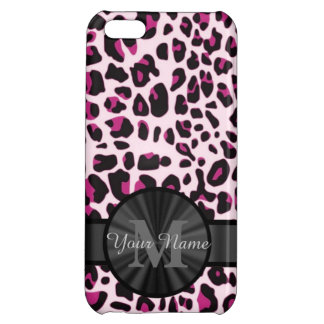 Pretty leopard animal print monogramed cover for iPhone 5C