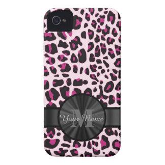 Pretty leopard animal print monogramed iPhone 4 case