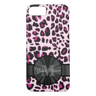 Pretty leopard animal print monogramed iPhone 8/7 case