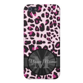 Pretty leopard animal print monogramed iPhone SE/5/5s cover