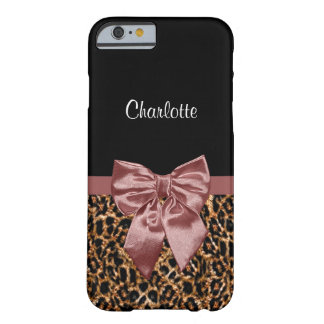 Pretty Leopard Print Feminine Marsala Bow and Name Barely There iPhone 6 Case