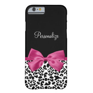 Pretty Leopard Print Name and Classy Deep Pink Bow Barely There iPhone 6 Case