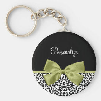 Pretty Leopard Print Spring Green Bow With Name Basic Round Button Keychain
