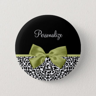 Pretty Leopard Print Spring Green Bow With Name Button